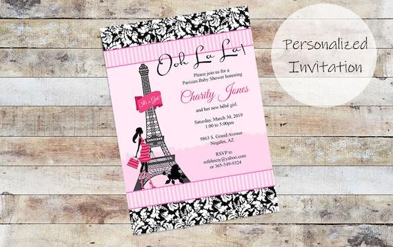 Poodles And Paris Baby Shower Invitation Paris Baby Shower Etsy