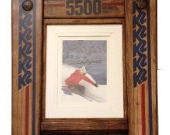 CUSTOMIZE your own DOUBLE Ski Frame made in Vermont and handcrafted out of Recycled Skis makes a ski gift for skiers