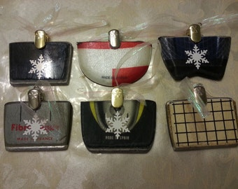 SKI Ornaments made from the tail end of a recycled ski. Makes great ski gifts and stocking stuffers for any skier or snowboarder