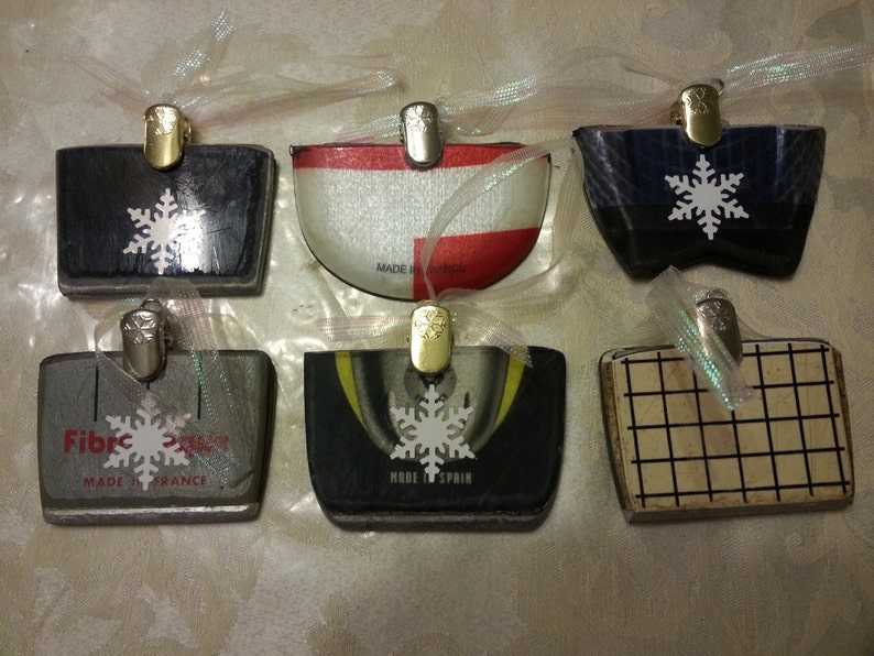 SKI Ornaments made from the tail end of a recycled ski. Makes image 0
