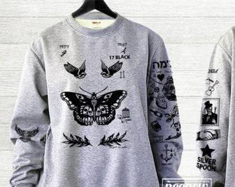 Butterfly Tattoos Sweatshirt Sweater Jumper Pullover Shirt add STYLES 94 on Back– Size S M L XL
