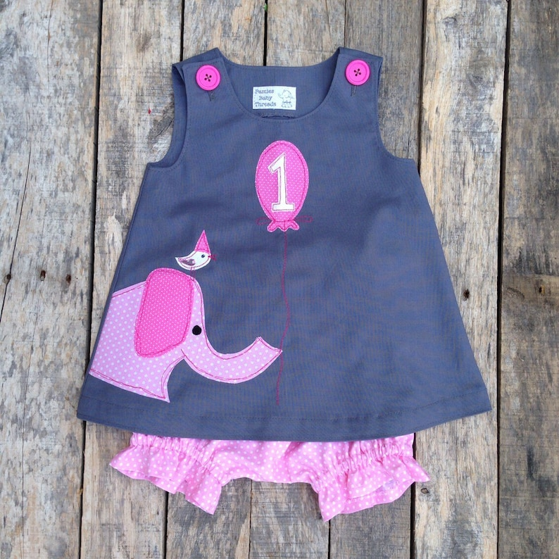 720343f2686b Pink Elephant Ellie and Friend First Birthday Circus Dress and