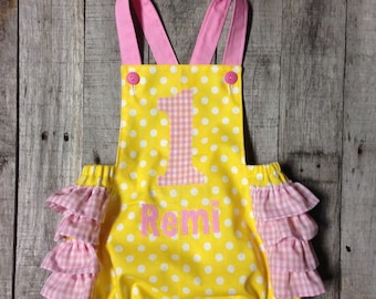 First Birthday sunsuit- Pink lemonade - You Are My Sunshine theme
