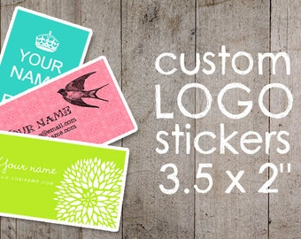 "Custom Stickers  Custom Labels  Product Labels  Return Address Labels  Wedding Stickers  Personalized Stickers - 3.5 X 2"" - YOUR LOGO"
