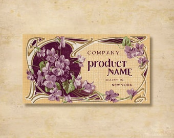 Custom Stickers - Product Labels - Vintage Labels - Authentic Vintage -  Floral, Flowers - L3