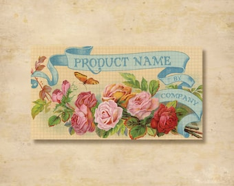 Custom Stickers - Product Labels - Vintage Labels - Authentic Vintage - Floral, Flowers - L5