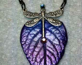 Purple dragonfly leaf necklace cast using a real leaf.  One of a kind. Shipping included.
