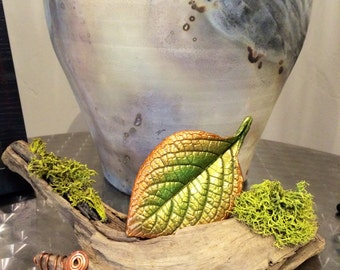 Casting of a real leaf with moss and wood. Woodland Mixed Media. Nature.  Fathers Day gift. Shipping included.