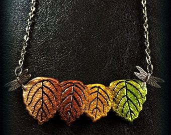 Dragonfly leaf necklace cast using four real leaves.  One of a kind. Shipping included.