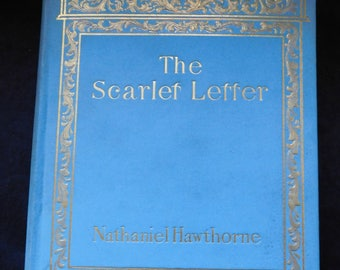 Antique 'The Scarlet Letter' by Nathaniel Hawthorne - Sky Blue and Gilt, Beautiful Old Edition