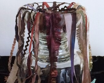 HAND DYED RIBBON, Ribbon, Brown Ribbon, Embellishment Ribbon, Ribbons, Craft Ribbon, Hand Painted, Crazy Quilt Supplies, Fiber Art Supplies