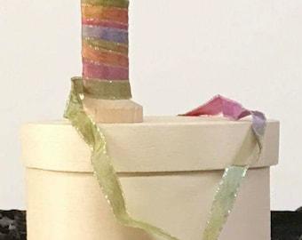 RIBBON, Hand Dyed Ribbon, Multi Color Ribbon, Ribbon Embroidery, Doll Making, Embellishment Ribbon, Textile Arts Supplies, The Fiber Goddess