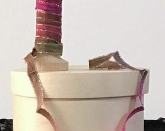 RIBBON, Hand Dyed Ribbons, Multi Color Ribbon, Ribbon Embroidery, Doll Making, Embellishment Ribbon, Dyed Ribbon, The Fiber Goddess