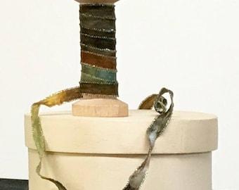 HAND DYED RIBBON, Ribbon, Craft Ribbon, Multi Color Ribbon, Quarter Inch Ribbon, Doll Making, Embroidery Ribbon, The Fiber Goddess