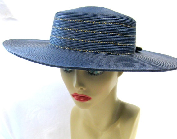 Vintage Wide Brimmed Navy Straw Hat with gold Tri… - image 1