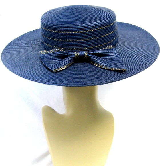 Vintage Wide Brimmed Navy Straw Hat with gold Tri… - image 2