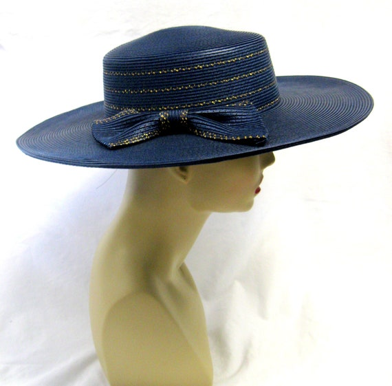 Vintage Wide Brimmed Navy Straw Hat with gold Tri… - image 3