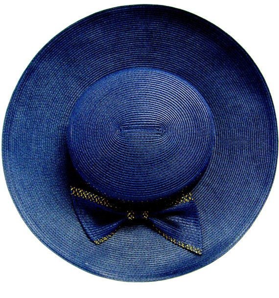 Vintage Wide Brimmed Navy Straw Hat with gold Tri… - image 4