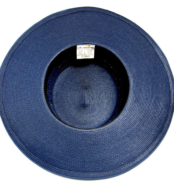 Vintage Wide Brimmed Navy Straw Hat with gold Tri… - image 5