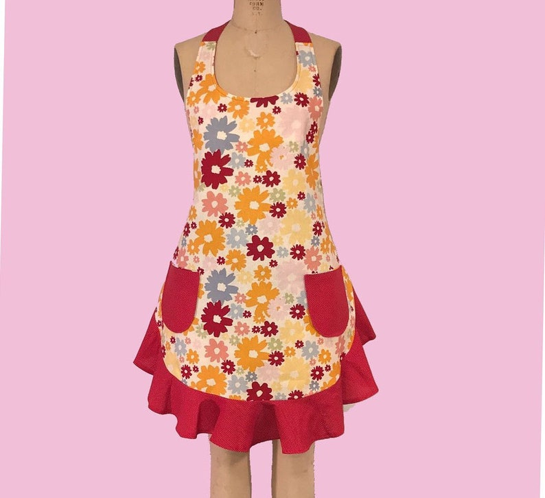 04fe8e735a037 Flower Print Woman's Retro Style Apron, Cute Apron with Pockets and Ruffle