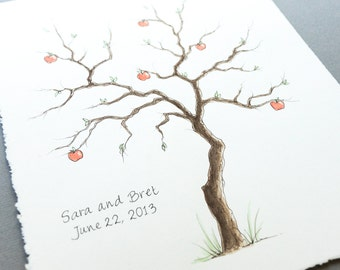 Wedding Guest Book MEDIUM APPLE Tree Thumbprint Tree 16 x 20