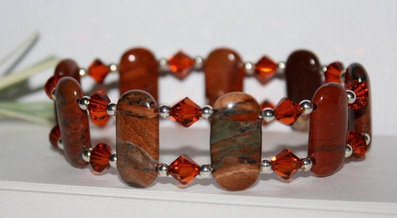 7fa1fe67cf04 Jaspe rojo amapola Pulsera doble taladro piedras preciosas