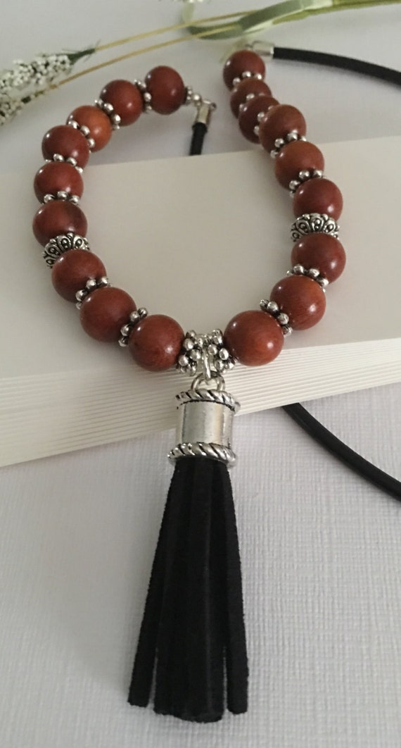 Brown Rope Wood Beaded Bohemian Style Matte Silver Horn Pendant Necklace