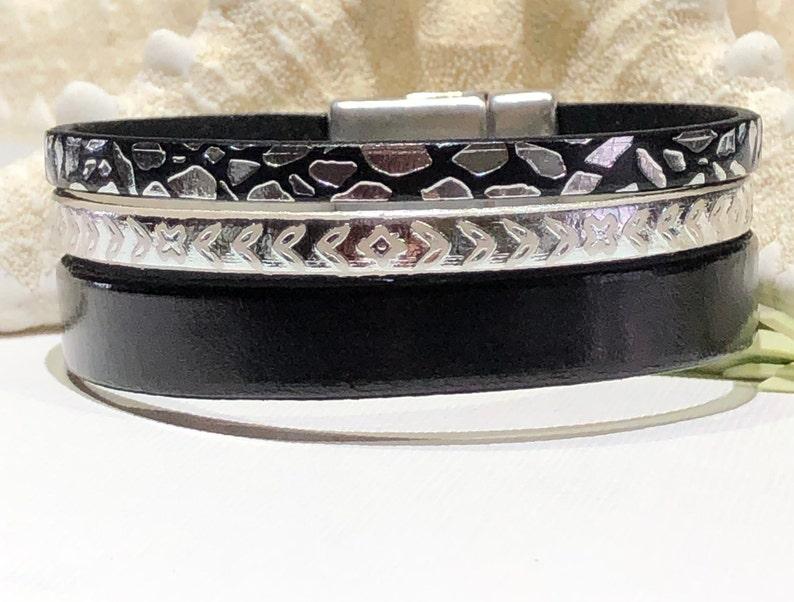 fa38f4ff845 Bracelet-Triple Strand Flat Leather Cuff-20mm Flat Leather | Etsy