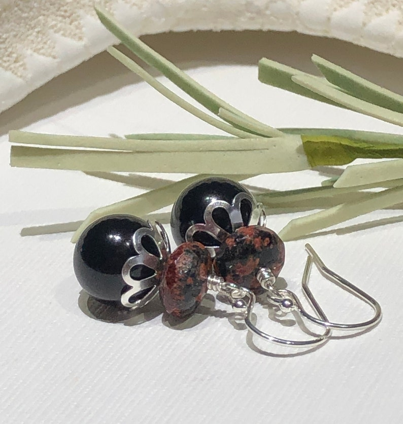 Earrings-Black Pearl Mexican Red Snowflake Jasper Gemstone Sterling Silver Ear Wires-Black Clay Red Short Drop Dangle-Just Over One Inch-Her