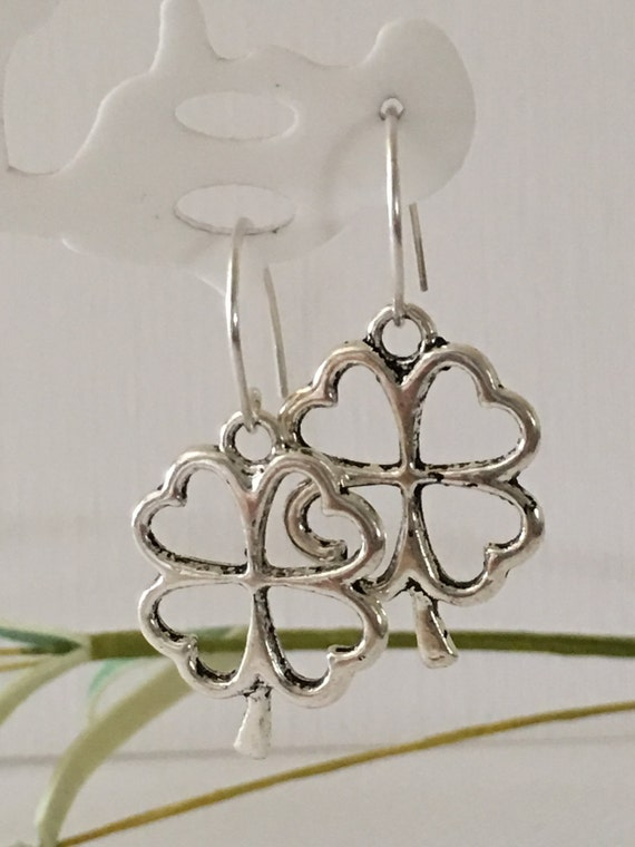 Four Leaf Clover Charm Shamrock Luck Irish Green NEW 925 Sterling Silver