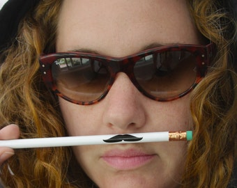 Mustache Pencils in White (listing for 4 pencils)