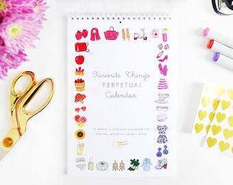 Perpetual Wall Calendar - Illustrated Favorite Things / Fashion Illustration Calendar, Fashion Wall Calendar, Home Decor, Birthday Calendar
