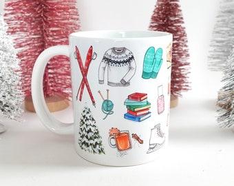 Winter Favorites Mug -  Fashion Illustration / Winter Fashion Mug, Fashion Illustration Mug, Fashion Art Mug, Fashion Sketches, Coffee