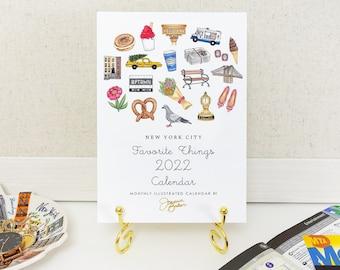 2022 New York City Favorite Things Desk Calendar  / NYC Desk Calendar, New York City Calendar, Fashion Illustration Calendar, Travel NY