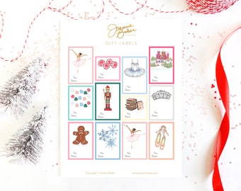 Nutcracker Ballet Holiday Gift Label Stickers  - Glossy, Permanent / Sugar Plum Fairy Ballet Illustration Gift Tags, Christmas Gift Labels
