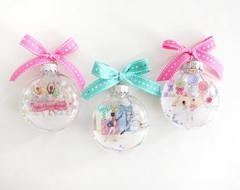 Gift Set - Nutcracker Glitter Christmas Ornament Trio #2 / Nutcracker Ballet Ornament, Ballerina Ornament, Ballet Dancer, Sugar Plum Fairy