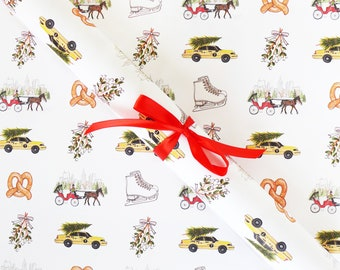 Gift Wrap Sheets - Christmas in New York / Christmas Gift Wrap, NYC Wrapping Paper, NYC Illustrated Gift Wrap, New York City Holiday Paper