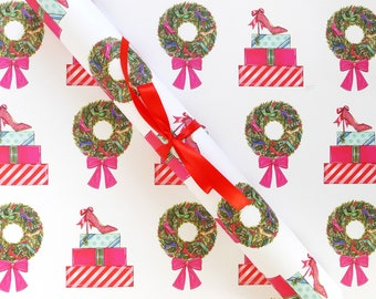 Gift Wrap Sheets - Holiday Shoes / Christmas Gift Wrap, High Heel Shoe Illustrations, Shoe Wrapping Paper, Fashion Illustration Gift Paper