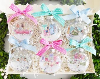 Deluxe Gift Set of 6 - Nutcracker Glitter Christmas Ornament / Nutcracker Ballet, Ballerina Ornament, Ballet Dancer, Sugar Plum Fairy