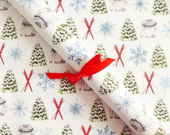 Gift Wrap Sheets - Winter Ski Chalet / Christmas Gift Wrap, Holiday Wrapping Paper, Winter Illustrated Gift Wrap, Snow Flake Holiday Paper