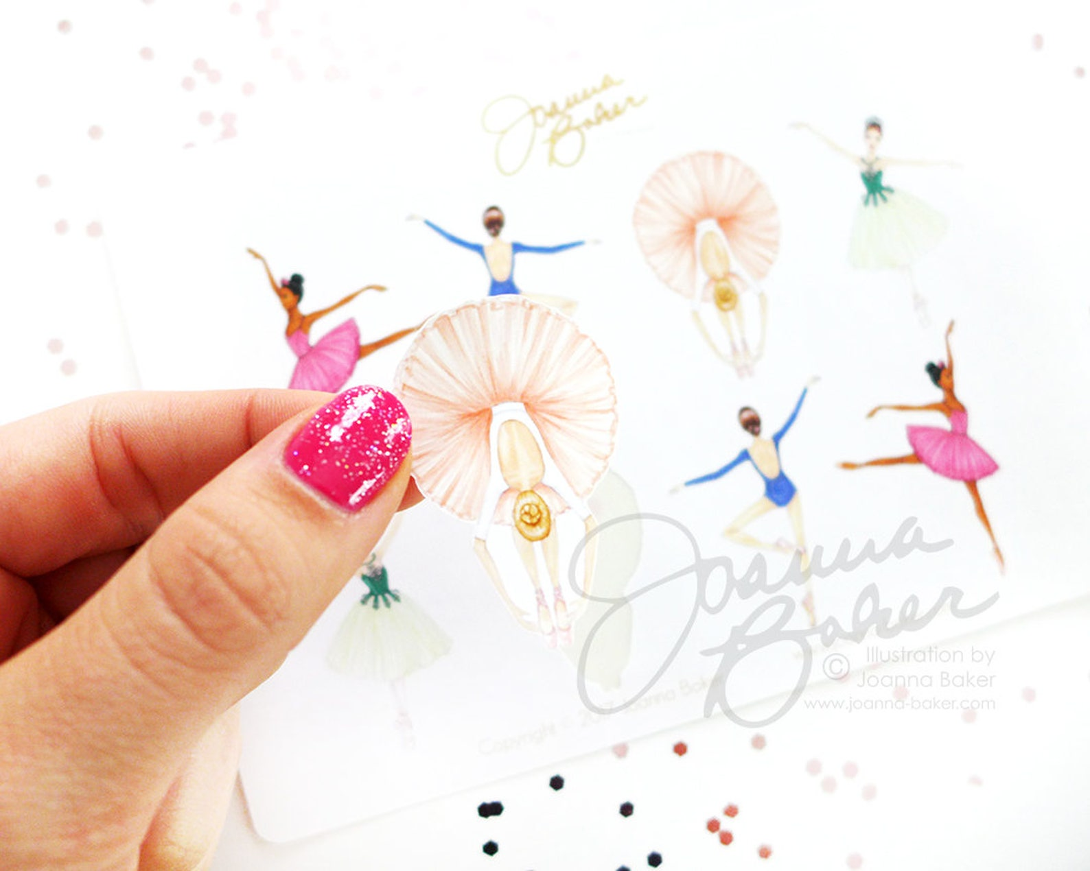 ballerina fashion illustration stickers - glossy, permanent / ballet stickers, dancer, tutu, pointe shoes, tutu stickers, dance