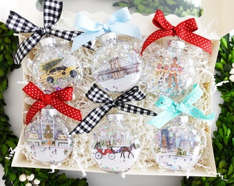 Deluxe Gift Set of 6 - New York City Glitter Christmas Ornaments / Rockefeller Center, Central Park, Taxi, NYC Souvenir, Christmas in NYC