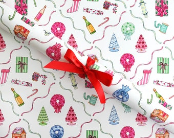 Gift Wrap Sheets - Festive Trimmings / Holiday Gift Wrap, Fashion Illustration Gift Paper, Fashion Girly Wrapping Paper, Christmas Paper