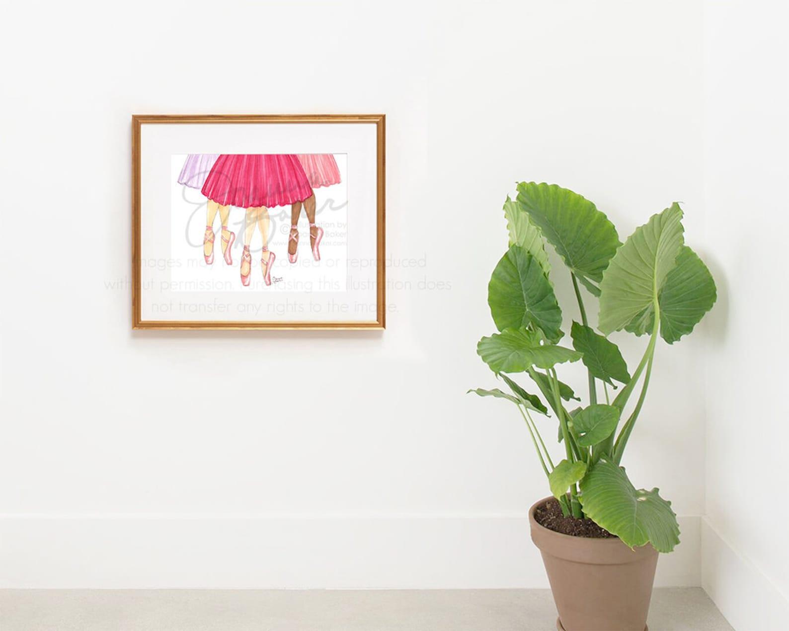 tutu trio fashion illustration art print / fashion sketch, girls room decor, pointe shoes, tutu, ballet art print, dancer art pr