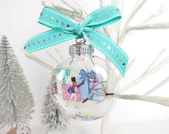 Nutcracker Prince & Mouse King Glitter Christmas Ornament / Nutcracker Ballet Ornament, Ballet Dancer, Ballet Ornament, Christmas Nutcracker