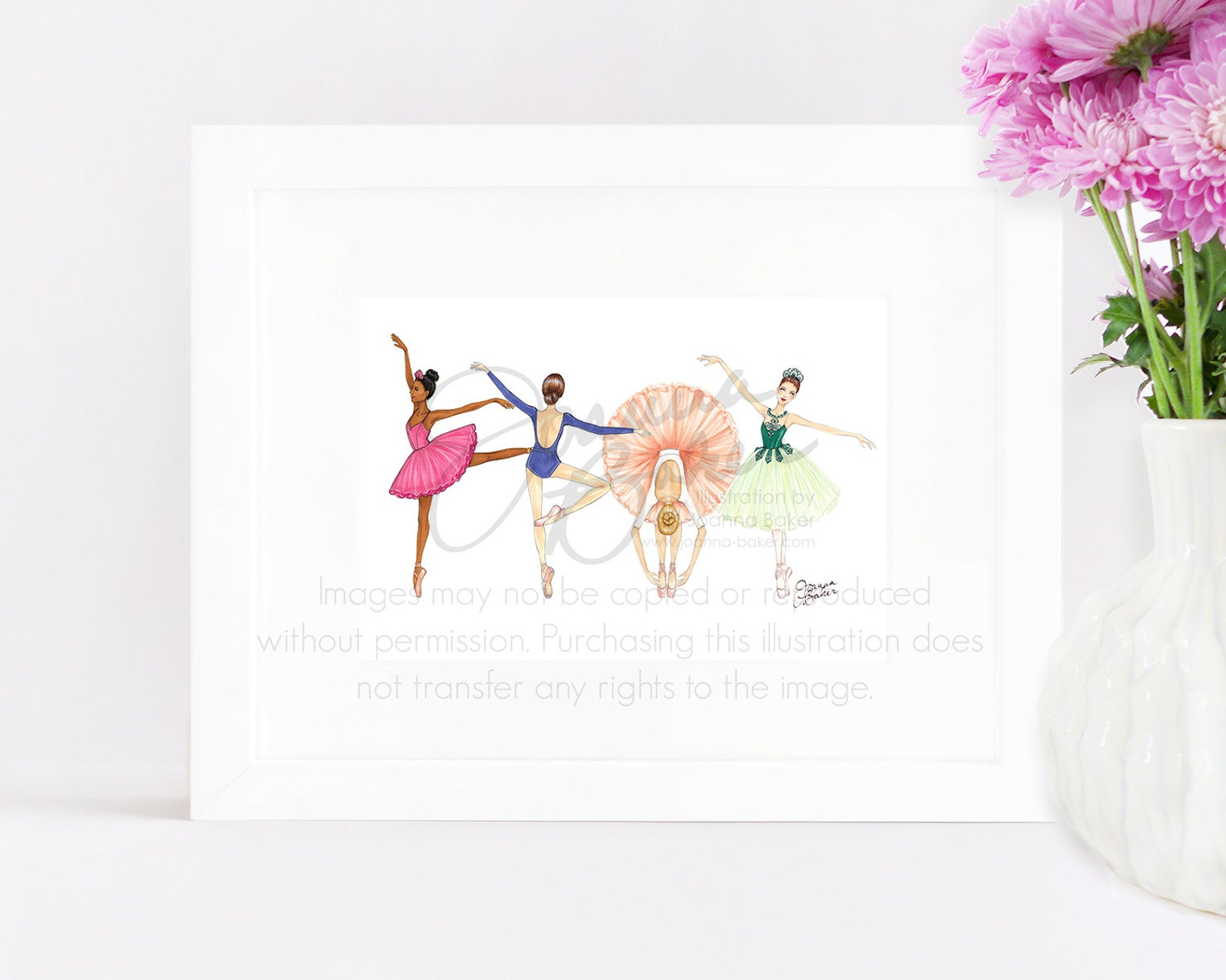 ballerina besties fashion illustration art print / fashion sketch, girls room decor, pointe shoes, tutu, ballet art print, dance