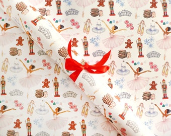 Gift Wrap Sheets - Nutcracker Ballet / Christmas Gift Wrap, Holiday Wrapping Paper, Sugar Plum Fairy Illustrated Gift Wrap, Ballet Gift Wrap