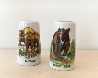 Vintage Salt and Pepper Shakers / Gold leaf / Made in Japan / Buffalo Black Bear