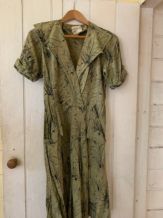 1940's Silk & Rayon Dress
