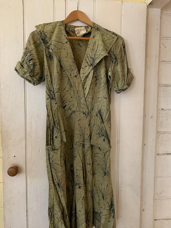 1940's Silk & Rayon Dress